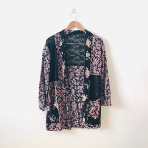 Urban Outfitters Floral Mesh Color Block Blazer